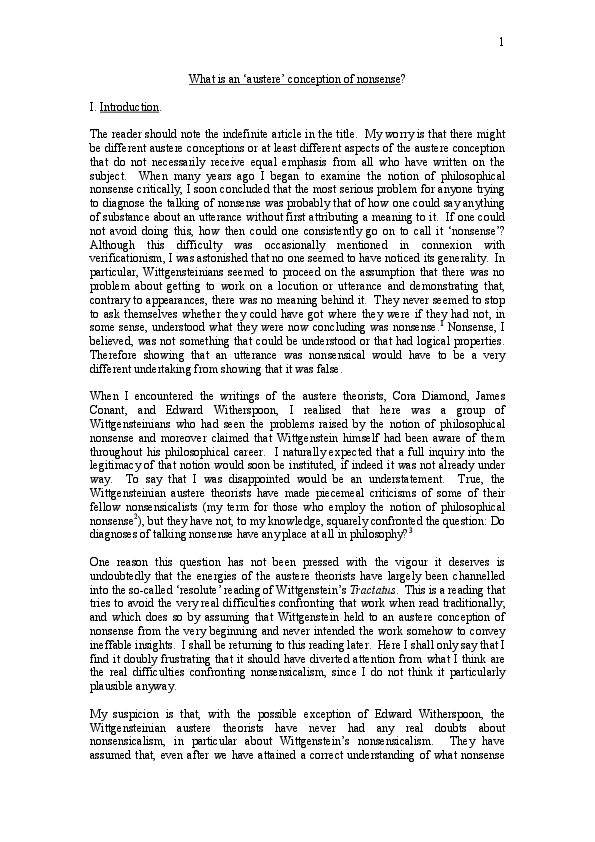 (PDF) What is an 'austere' conception of nonsense? | ian dearden - Academia.edu