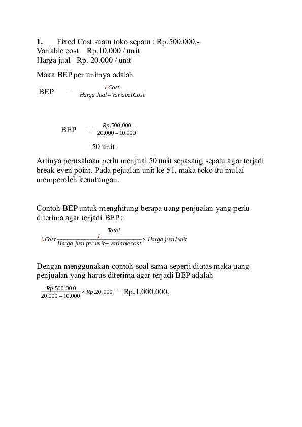 Contoh Soal Bep : contoh, Bep.., Academia.edu