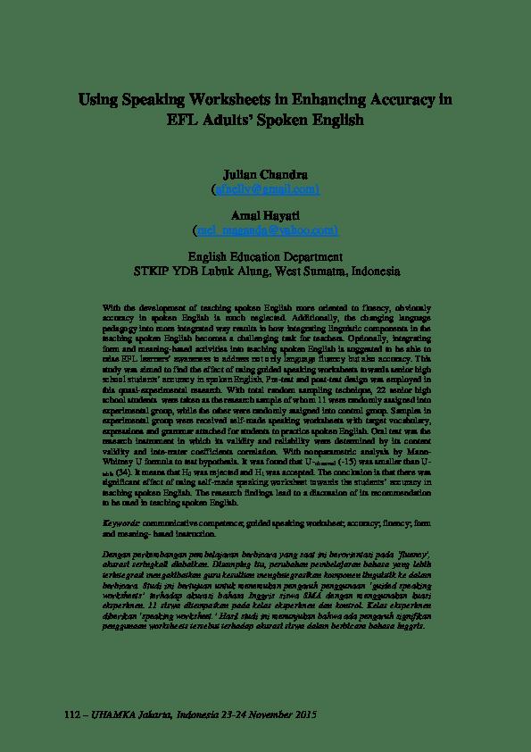 Pdf Using Speaking Worksheets In Enhancing Accuracy In Efl