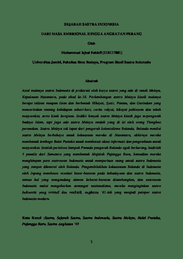 Sejarah Sastra Angkatan 45 : sejarah, sastra, angkatan, SEJARAH, SASTRA, INDONESIA, EMBRIONAL, HINGGA, ANGKATAN, PERANG, Muhammad, Iqbal, Fahlefi, [I1B117001], Academia.edu