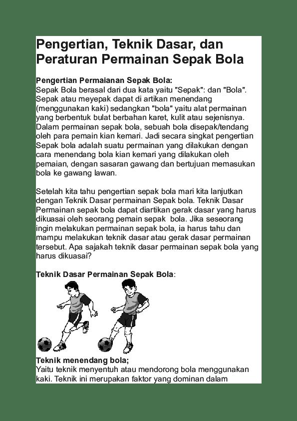 Teknik Dasar Sepak Bola : Pengertian, Sejarah dan Aturan