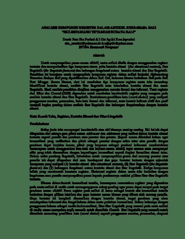 Berita Bahasa Bali : berita, bahasa, Register, Analysis, Research, Papers, Academia.edu