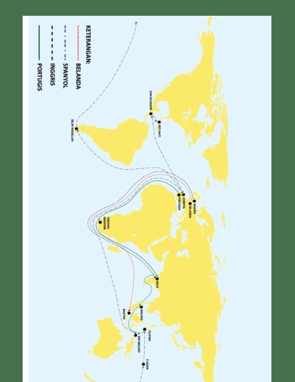 Deskripsikan dan jelaskan rute perjalanan bangsa Portugis
