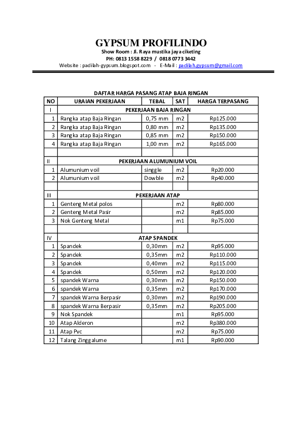 harga nok baja ringan doc daftar pasang atap docx gypsum profilindo