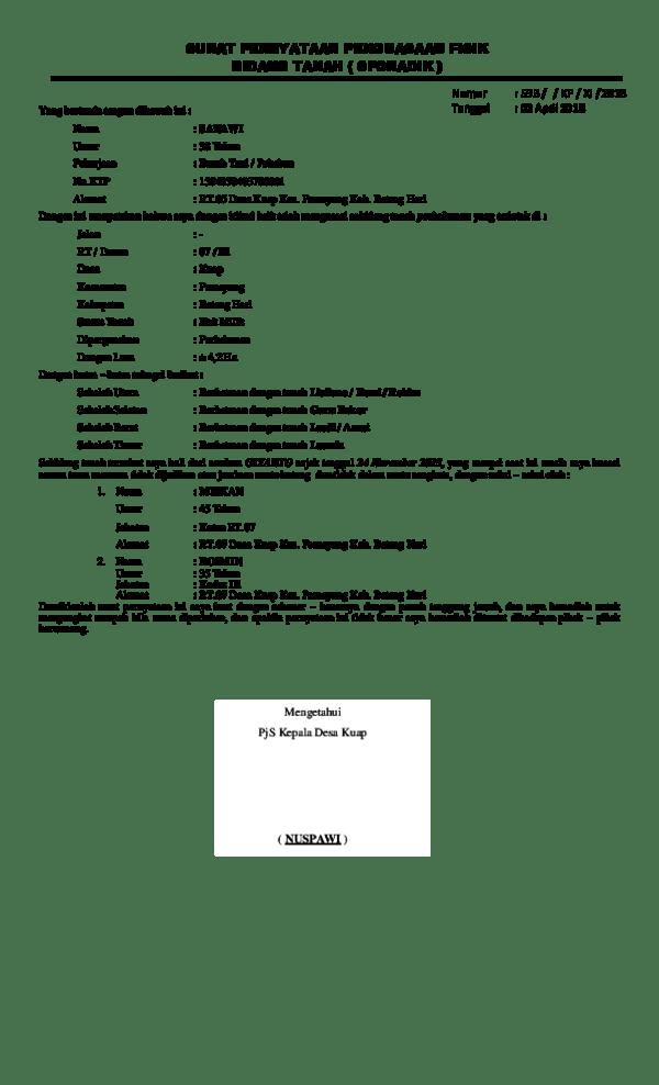 Contoh Surat Pernyataan Penguasaan Fisik Bidang Tanah ...