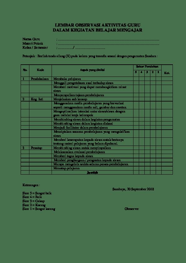 Contoh Lembar Observasi Aktivitas Siswa : contoh, lembar, observasi, aktivitas, siswa, Tutorial.Lif.co.id