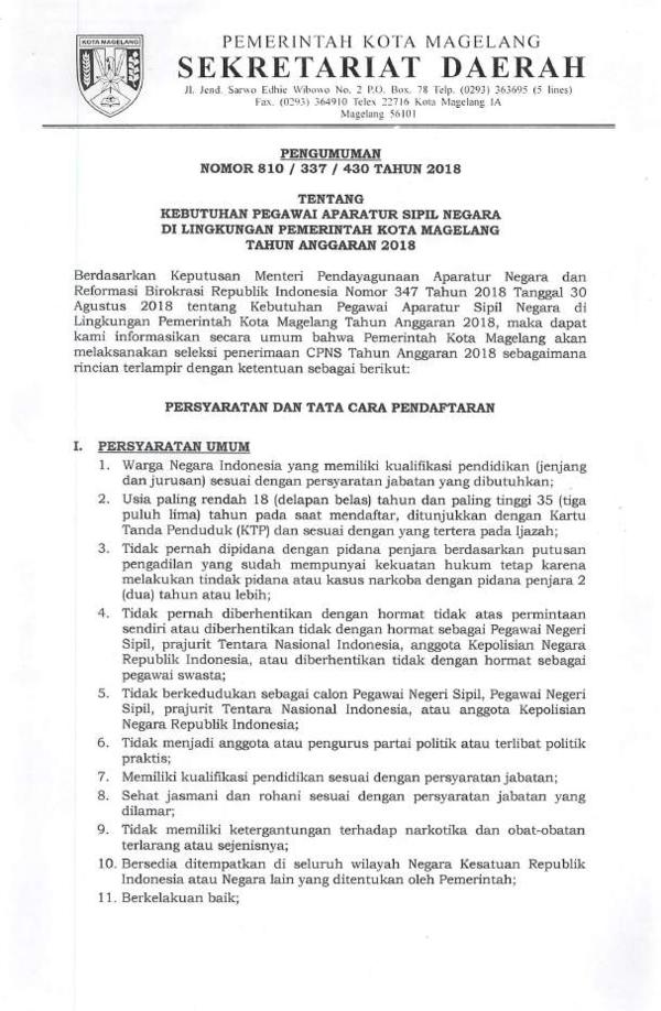 Cpns Kota Magelang : magelang, PEMERINTAH, MAGELANG, Didik, Academia.edu