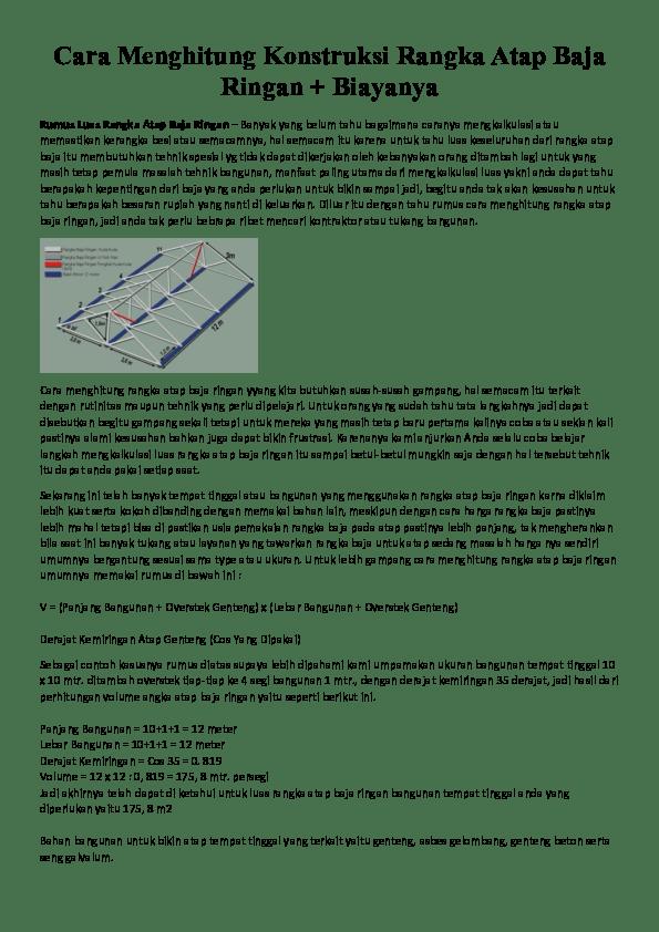menghitung kebutuhan baja ringan atap jurai doc cara konstruksi rangka usep