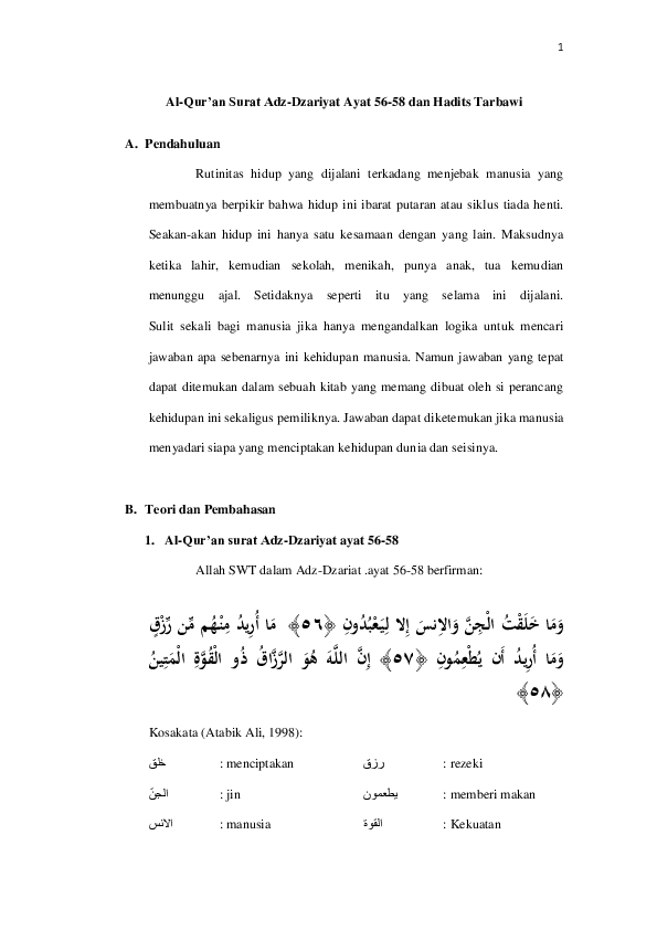 Adz Dzariyat 56 : dzariyat, Al-Qur'an, Surat, Adz-Dzariyat, 56-58, Hadits, Tarbawi, Mukhamad, Fathoni, Academia.edu