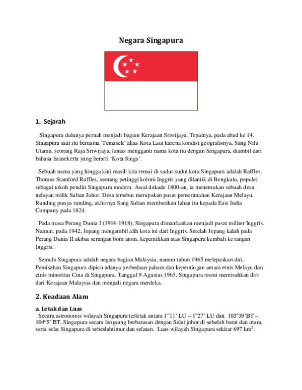 Bentang Alam Singapura : bentang, singapura, Negara, Singapura, Farhani, Academia.edu