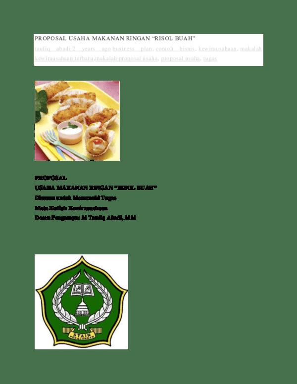 Contoh Proposal Makanan Unik : contoh, proposal, makanan, PROPOSAL, USAHA, MAKANAN, RINGAN, Hafid, Wahid, Academia.edu