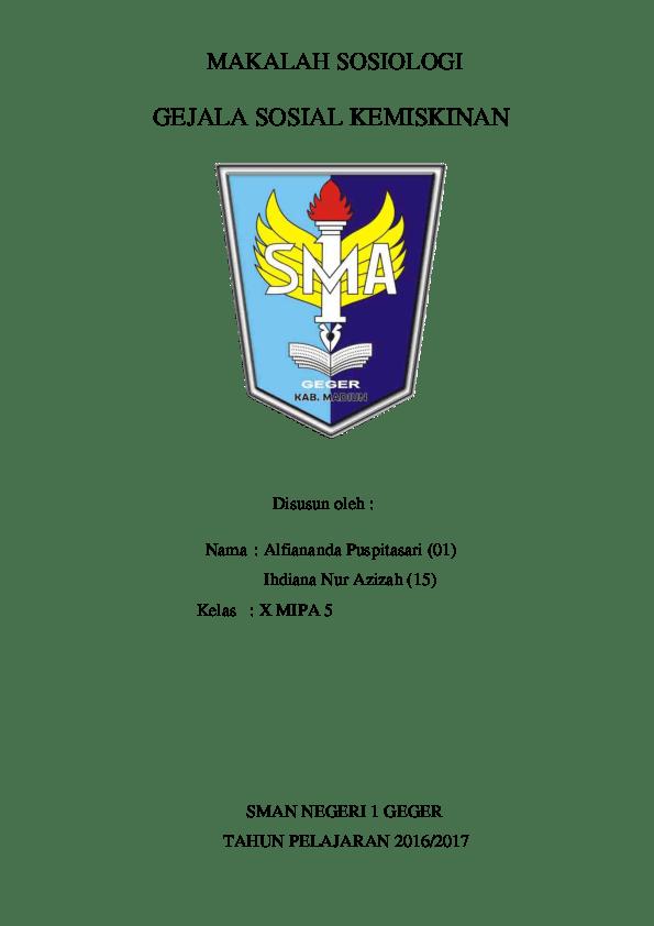 Laporan Penelitian Sosial Sosiologi Xii Sma Ips Nisamau Cute766