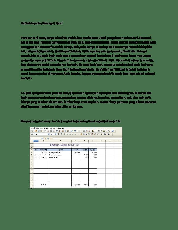 Contoh Laporan Keuangan Pemasukan Dan Pengeluaran Word Kumpulan Contoh Laporan Cute766