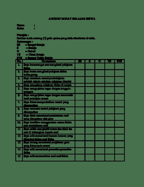 Angket Minat Belajar : angket, minat, belajar, Angket, Minat, Belajar, Siswa, Bagikan, Contoh