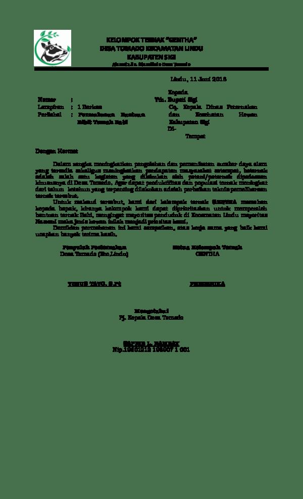 Contoh Surat Permohonan Bibit Ke Dinas Pertanian Doc