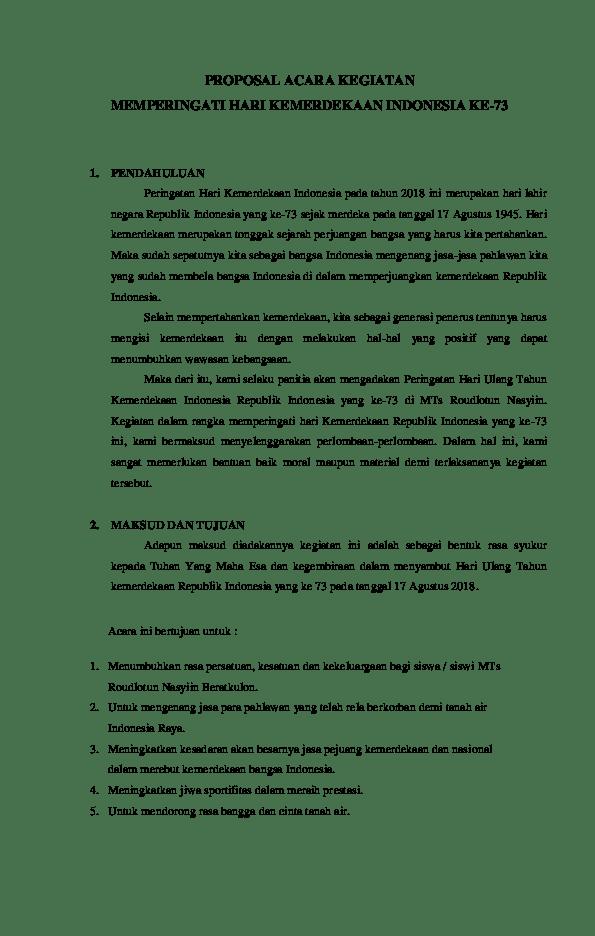 Contoh Penutup Proposal Kegiatan 17 Agustus : contoh, penutup, proposal, kegiatan, agustus, CONTOH, PROPOSAL, ACARA, KEGIATAN, LOMBA, Agustus, 2018.docx, Taufik, Akbar, Academia.edu