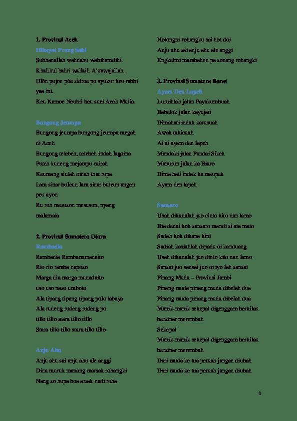 Lagu Daerah 34 Provinsi Beserta Liriknya : daerah, provinsi, beserta, liriknya, Lirik, Daerah, Prov.docx, Drive, Academia.edu