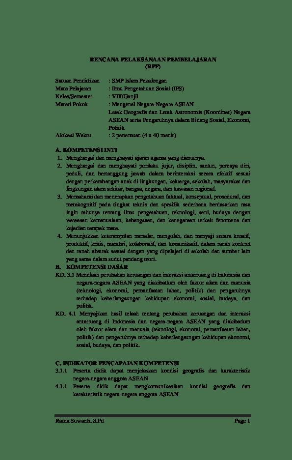 IPS (RPP, Silabus, KI/KD) Kelas 7-VII Semester 1,2 Kurikulum 2013...