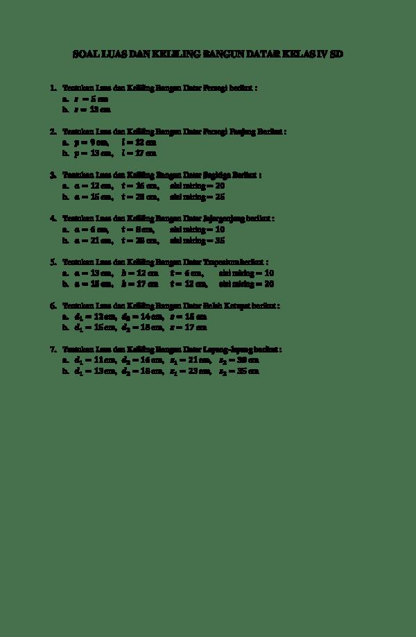 Soal luas dan keliling bangun datar kelas iv sd 1. Doc Soal Luas Dan Keliling Bangun Datar Kelas Iv Sd Fiqih Nur Hakiki Academia Edu