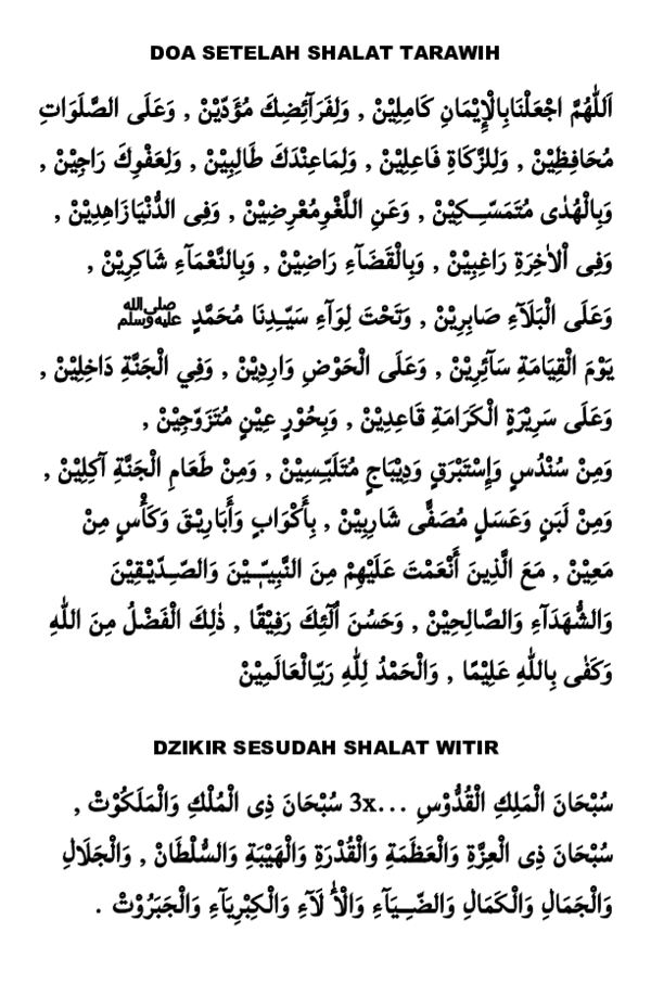 Doa Witir Setelah Sholat Tarawih : witir, setelah, sholat, tarawih, SETELAH, SHALAT, TARAWIH, WITIR, Ahmad, Kanzu, Firdaus, Academia.edu
