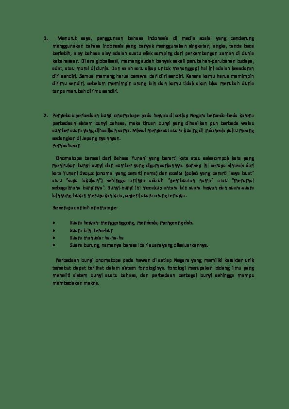 Penyebab Perbedaan Bunyi Onomatope : penyebab, perbedaan, bunyi, onomatope, Tugas, Bahasa, Indonesia, Catika, Fatima, Academia.edu