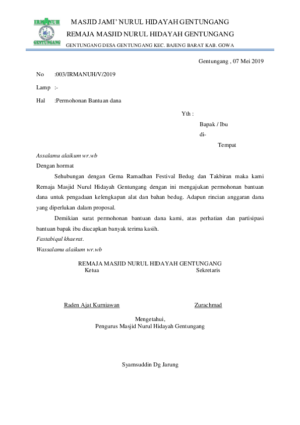 Contoh Surat Permohonan Bantuan Dana Proposal : contoh, surat, permohonan, bantuan, proposal, Proposal, Permohonan, Purwani, Academia.edu
