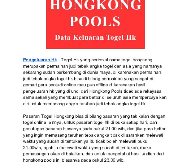 Pdf Pengeluaran Togel Hongkong Hari Ini Terlengkap Data Hk