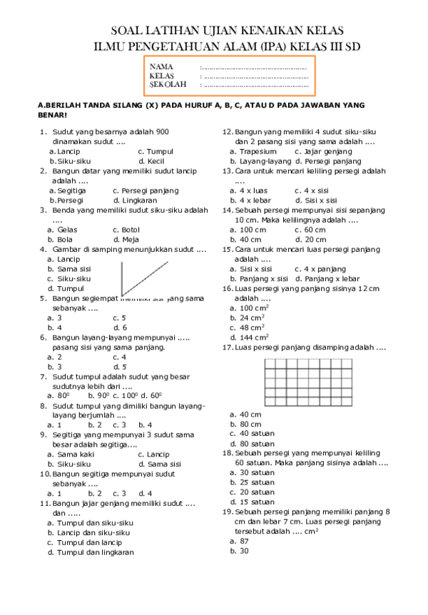 Soal Ukk Kelas 3 Sd Ktsp : kelas, Ujian, Kelas, IlmuSosial.id