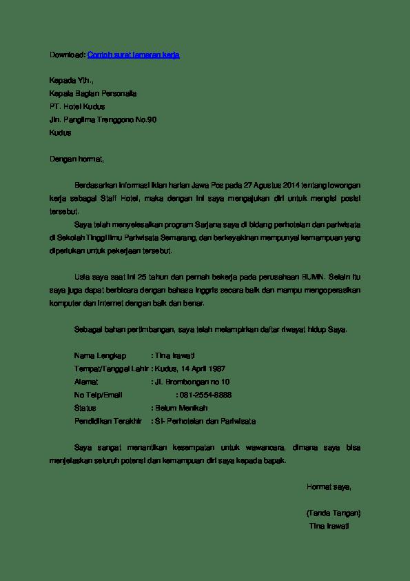 Contoh Surat Lamaran Kerja Chef Dalam Bahasa Inggris Dan Artinya Temukan Jawab Cute766