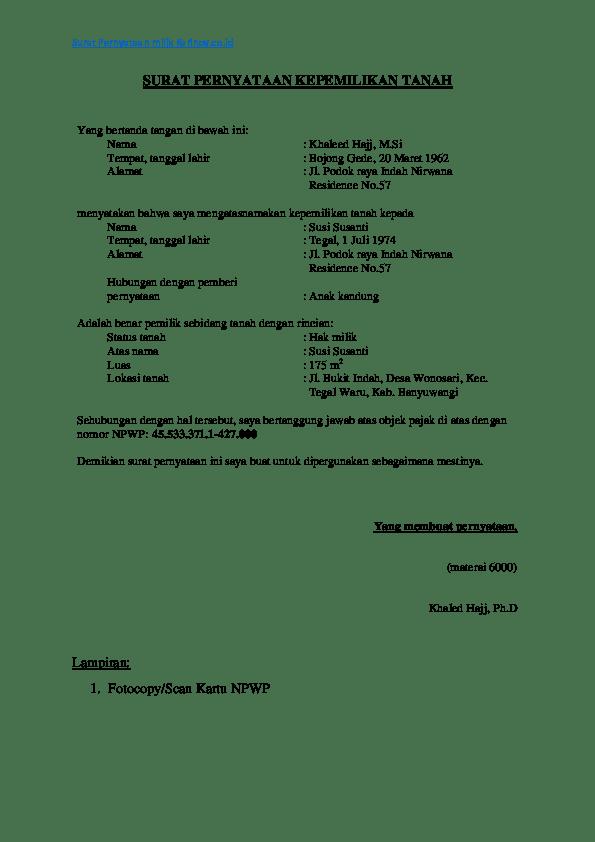Contoh Surat Pernyataan Kepemilikan Tanah Dan Bangunan : contoh, surat, pernyataan, kepemilikan, tanah, bangunan, Contoh, Surat, Pernyataan, Research, Papers, Academia.edu