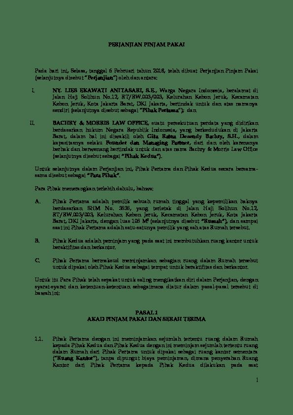 Perjanjian Pinjam Pakai : perjanjian, pinjam, pakai, Contoh, Perjanjian, Pinjam, Pakai, St-draft.AS), Polasio, Sihaloho, Academia.edu
