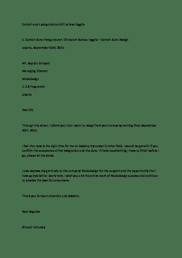 Contoh Surat Resign Bahasa Inggris : contoh, surat, resign, bahasa, inggris, Contoh, Surat, Pengunduran, Bahasa, Inggris, Suryadi, Academia.edu