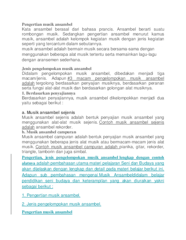 Pengertian Ansambel Musik : pengertian, ansambel, musik, Pengertian, Musik, Ansambel, Listrik, Leonardo, Academia.edu