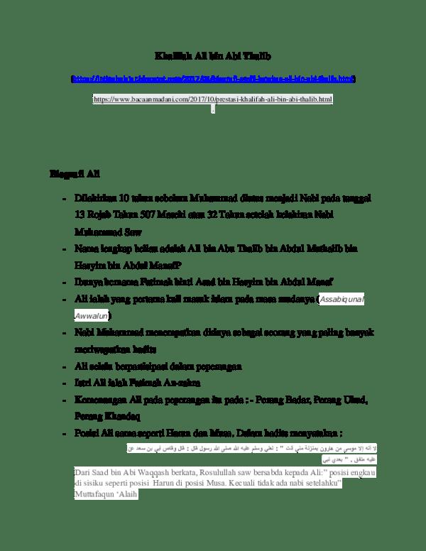 Prestasi Khalifah Ali bin Abi Thalib Selama Menjadi