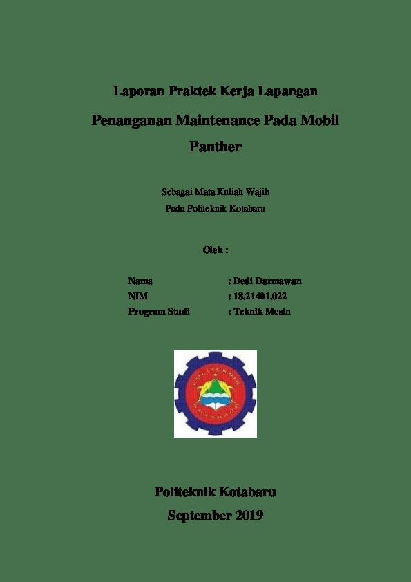 Contoh Laporan Kerja Praktek Teknik Mesin Seputar Mesin Cute766