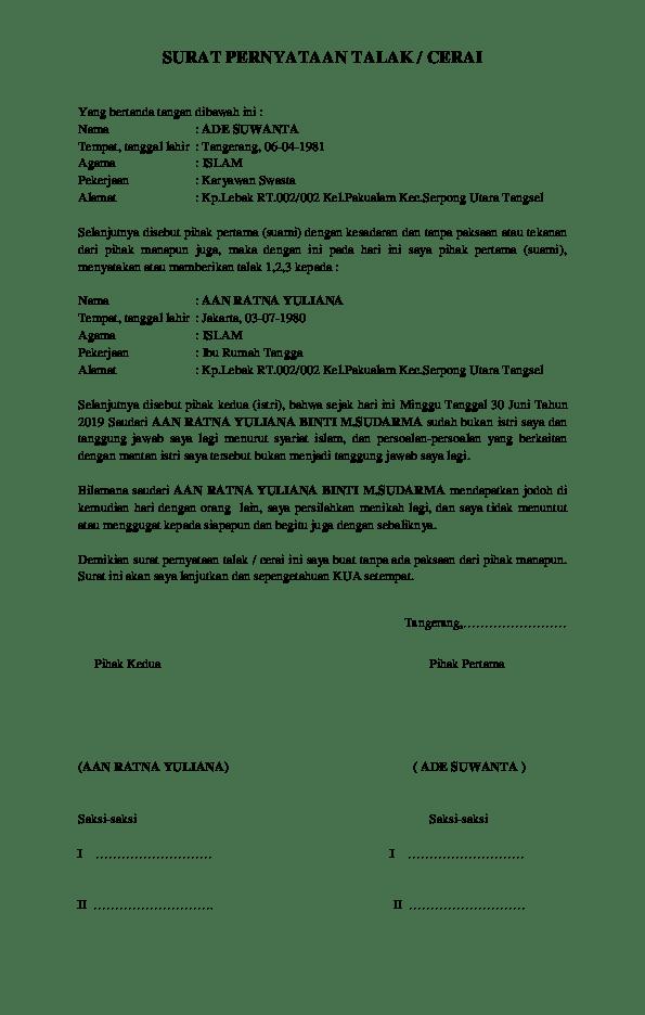 Contoh Surat Talak : contoh, surat, talak, CONTOH, SURAT, PERNYATAAN, TALAK, CERAI, Rahmat, Hidayatullah, Academia.edu