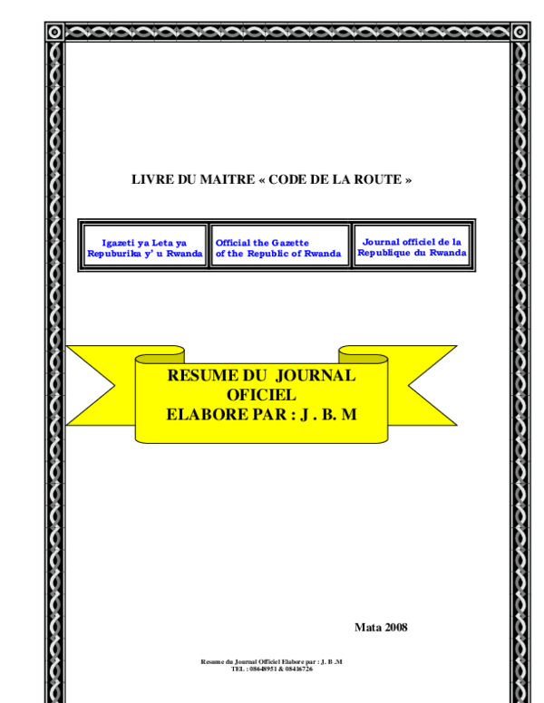 Pdf Livre Du Maitre Code De La Route Iradukunda Bahati