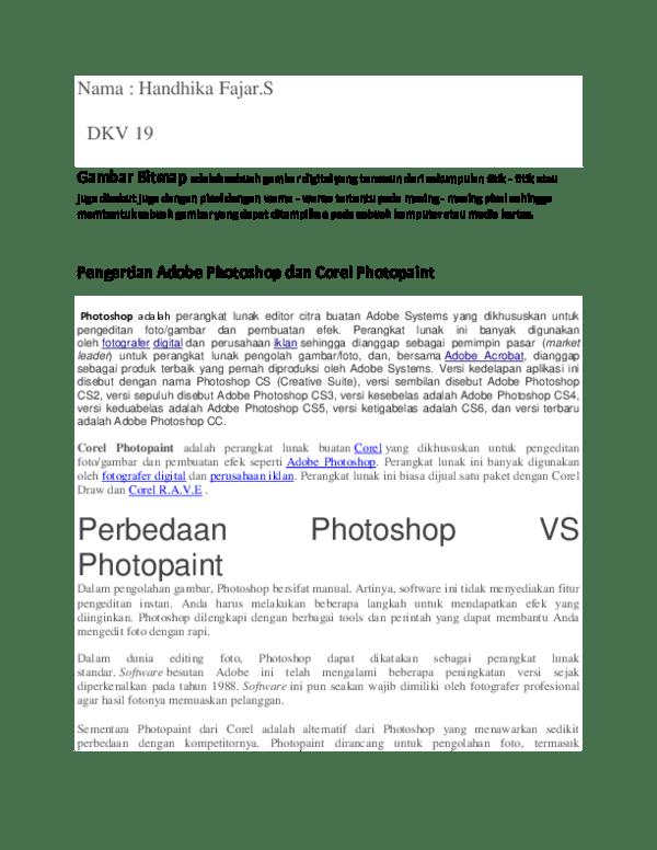 Perbedaan Photoshop Dan Corel Draw : perbedaan, photoshop, corel, Perbedaan, Photosho, Corelphotopain, Handika, Fajar, Academia.edu