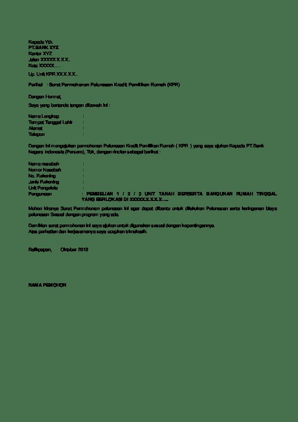 Contoh Surat Permohonan Pelunasan Hutang Kpr Cute766