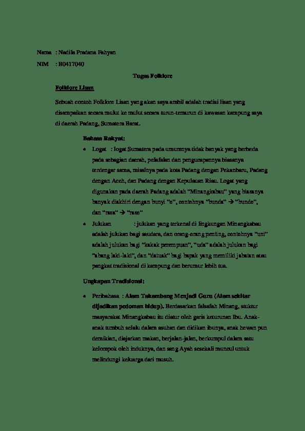 Contoh Folklor Lisan Bahasa Rakyat : contoh, folklor, lisan, bahasa, rakyat, Folklore, Lisan, Nadila, Pradana, Fahyan, Academia.edu