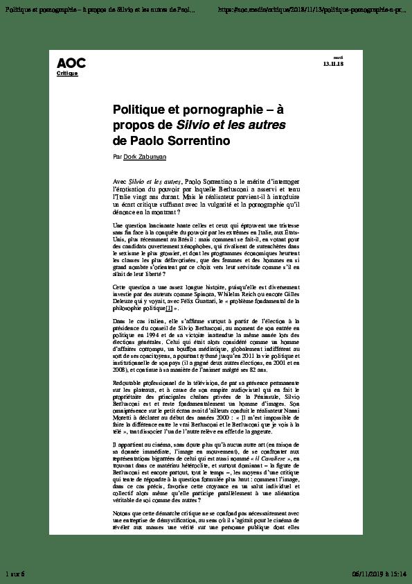 Silvio Et Les Autres Critique : silvio, autres, critique, Politique, Pornographie, Zabunyan, Academia.edu