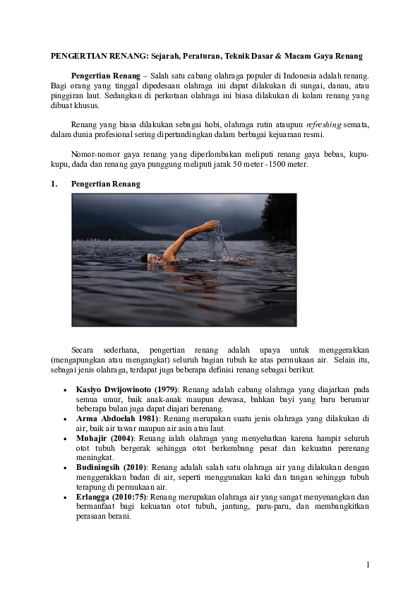 Sejarah Renang Gaya Punggung : sejarah, renang, punggung, Renang, Upnet, Academia.edu
