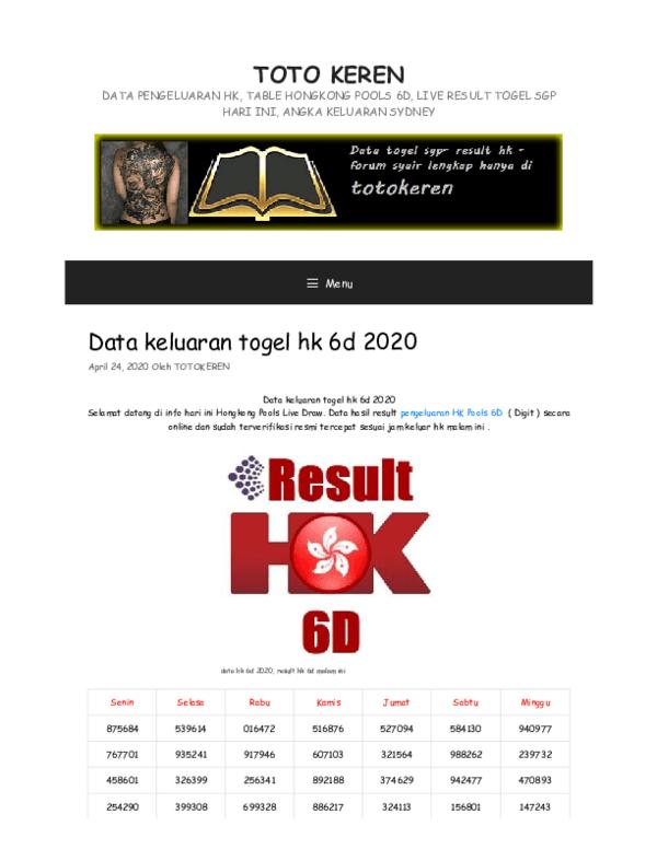 Keluaran Hk 6 Angka 2020 : keluaran, angka, Keluaran, Lengkap