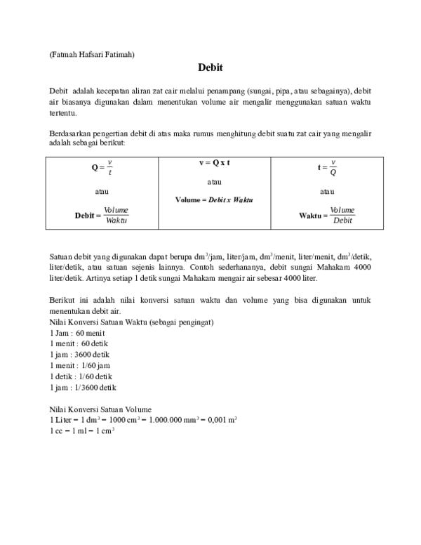 Pengertian Debit Adalah : pengertian, debit, adalah, Materi, Debit, Fatmah, Konten, Academia.edu