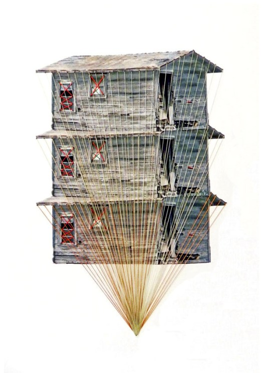 Embroidered Houses by Happy Red Fish in art Category