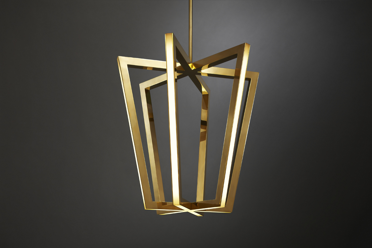 Asterix: A Family of Geometric Brass Chandeliers