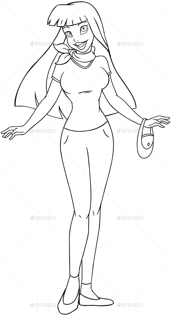 Asian Teenage Girl Coloring Page (People) Download ~ Best