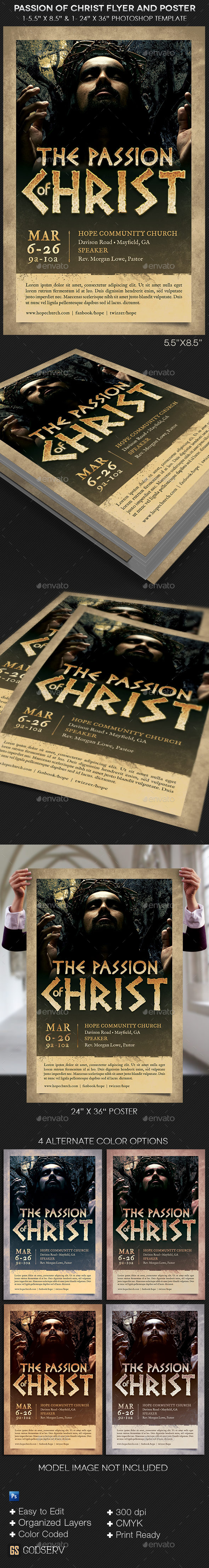 passion of christ flyer and poster template graphicmule. Black Bedroom Furniture Sets. Home Design Ideas