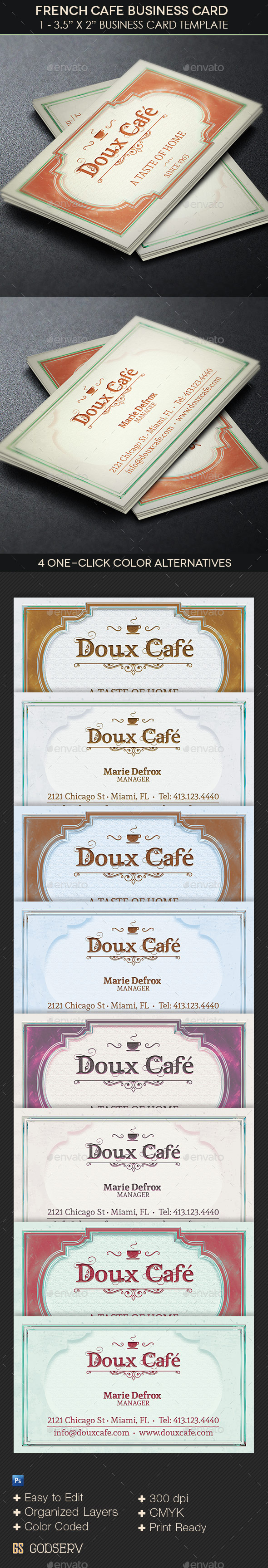 French Cafe Business Card Template   GraphicMule