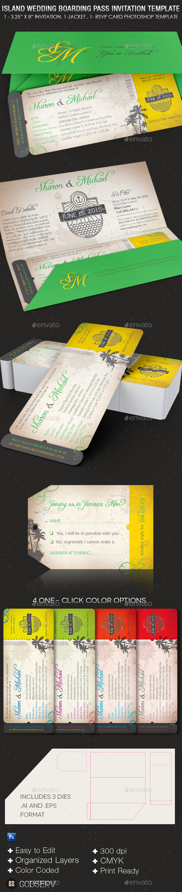 Island wedding boarding pass invitation template graphicmule island wedding boarding pass invitation template stopboris Image collections